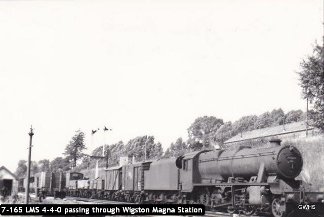 7-165 LMS 4-4-0 passing through Wigston Magna Station